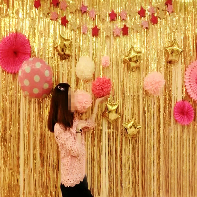 2 size wedding birthday party background wall balloon curtain decoration rain supply new year natal curtain