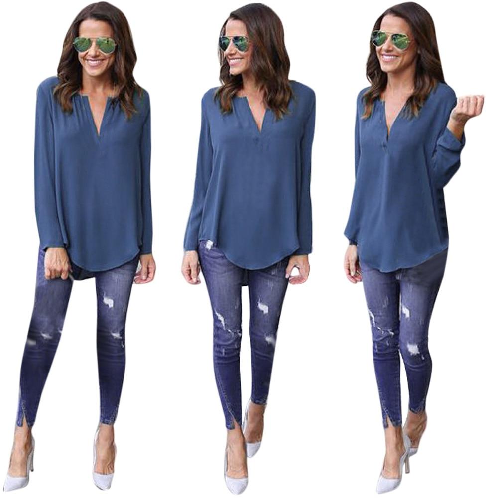 2017 New Fashion Women Deep V Neck Long Sleeve Chiffon Blouse Shirt Jfashion Korean Style Spandek Wing Ladies Loose Casual Tops Solid Elegant Top