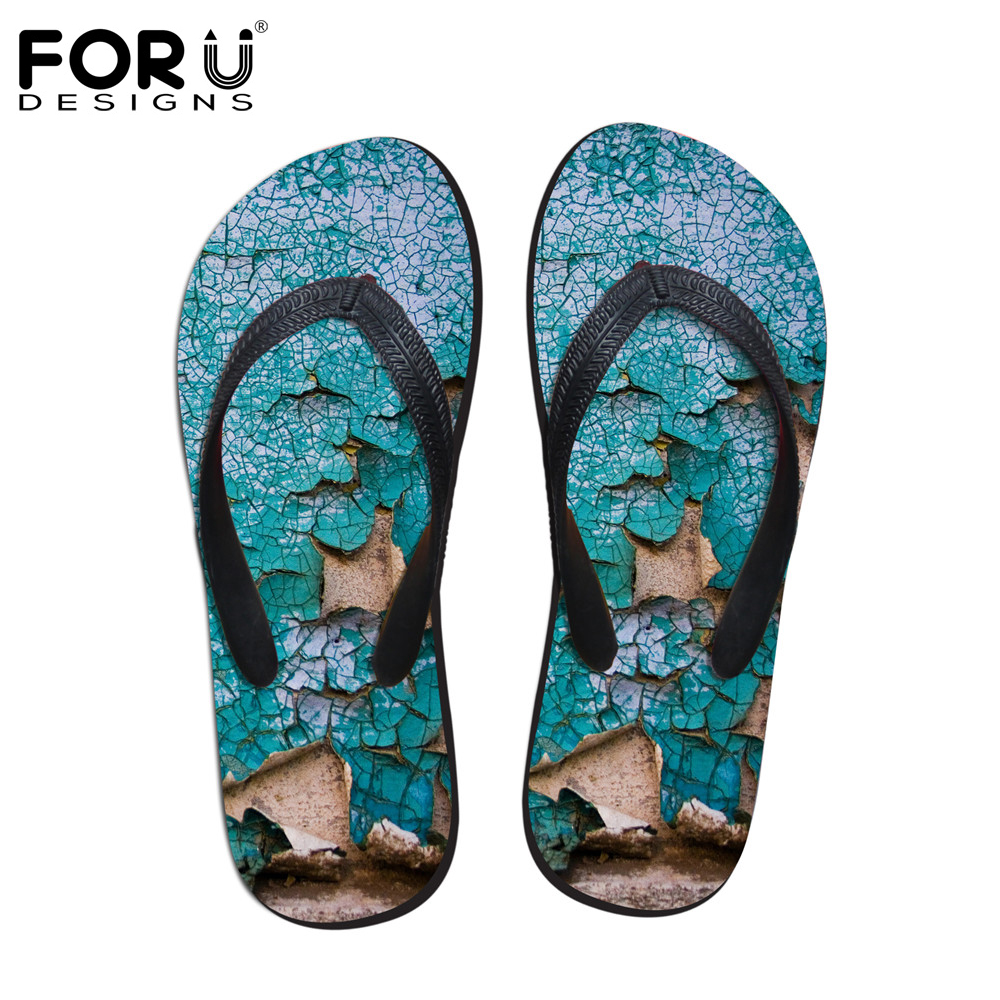 FORUDESIGNS Men's Summer Slippers Cool Summer Beach Flip Flops Patch Men Wear Rubber Flip Flops Male Plus Size 39-44 Sandals о любви сборник