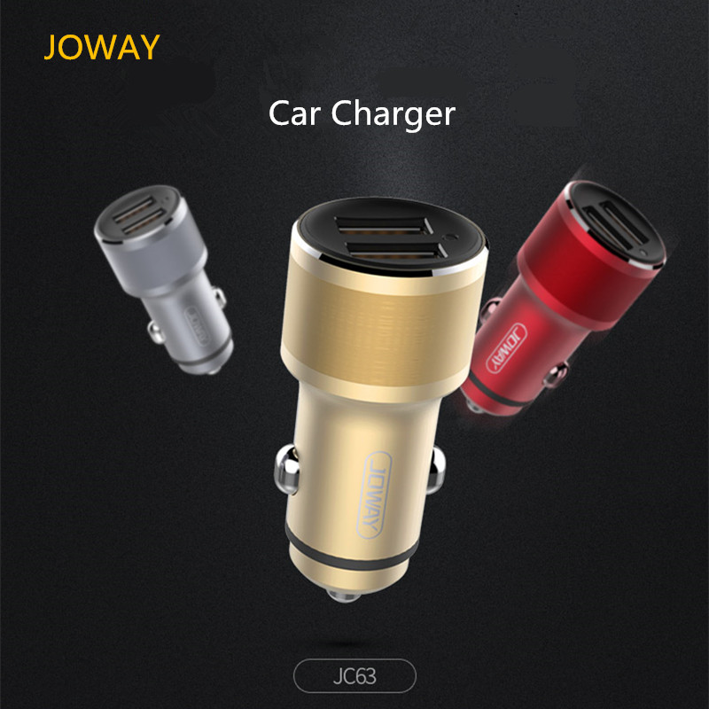 JOWAY Car Charger JC63 Dual USB Output 5V 2.4A Aluminum Alloy Metal Car Charger Potable Car Truck use for Mobile Phones