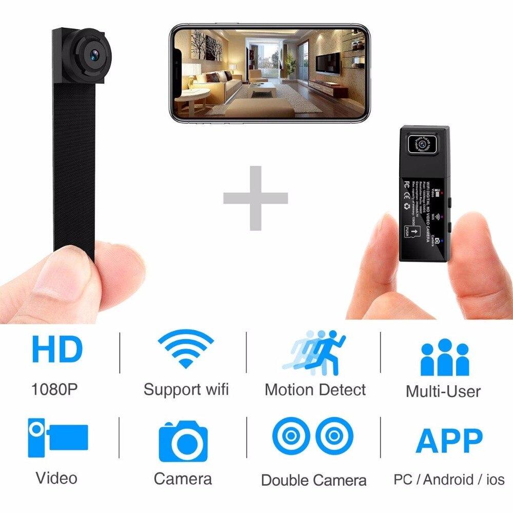 HD 1080 P bricolage Portable WiFi Mini caméra P2P sans fil Micro webcam caméscope enregistreur vidéo prise en charge vue à distance et carte cachée TF