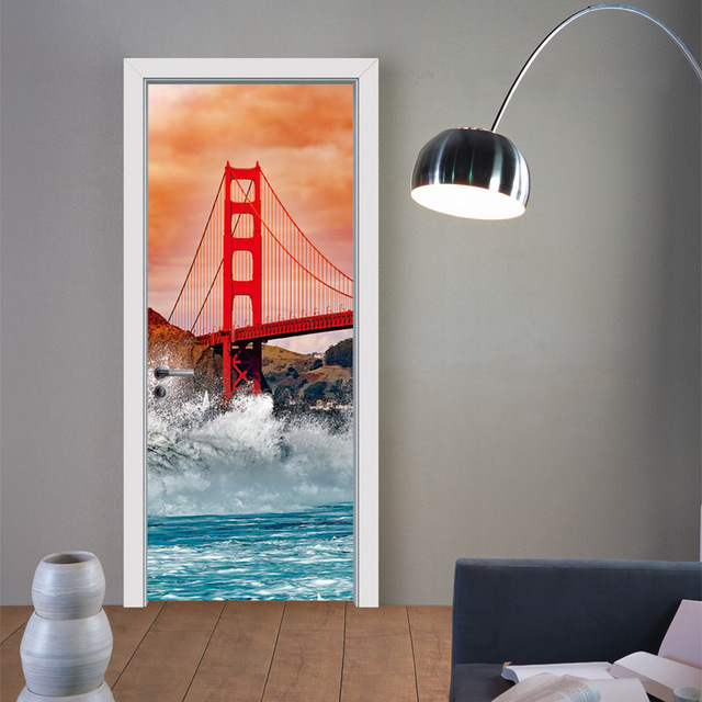 creative diy 3d door stickers golden gate bridge pattern for room wall decoration home decor accessories - Diy Home Decor Accessories