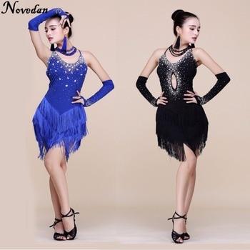 4a332911 Vestido de baile latino con flecos profesional para mujer vestidos de  competición de baile de salón de baile de señora moderno Tango/Rumba/Salsa/ Latino ...