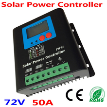 50A 60V 72V Solar Charge Controller, Home Use 72V Battery Regulator 50A for 3600W PV Solar Panels Modules, LED&LCD Display 50a