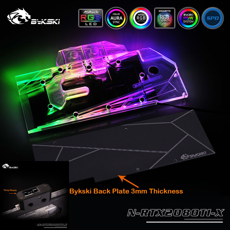 Bykski N-RTX2080Ti-X LED Full Cover VGA Water Cooling Block for <font><b>NVIDIA</b></font> Reference <font><b>RTX</b></font> 2080 <font><b>RTX</b></font> <font><b>2080Ti</b></font> Graphics Cards image