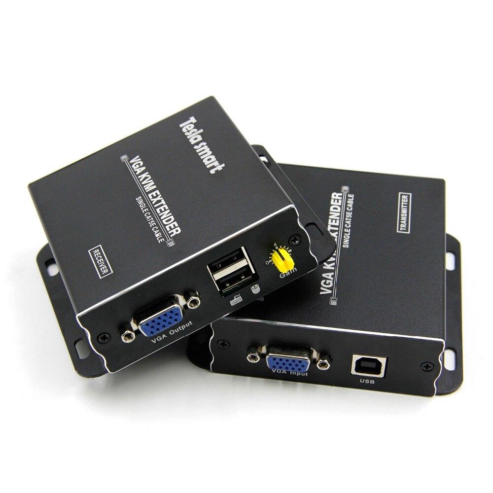 Rallonge USB VGA KVM 300m 1080P 60Hz longue portée 984ft sur câble Ethernet Cat5e Cat6 rallonge VGA (jusqu'à 300 m, expéditeur + récepteur)