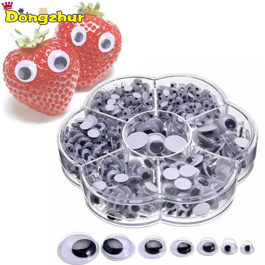 700PCS 4-12mm Wiggly Wobbly Googly Eyes Self-adhesive Scrapbooking Crafts Mixed Kids DIY