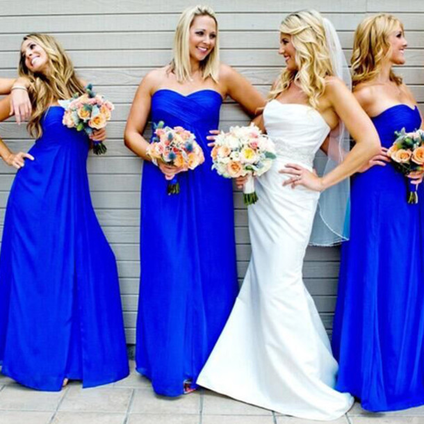 A Line Sweetheart Royal Blue Chiffon Bridesmaid Dress Custom Made Floor Length For Wedding Party