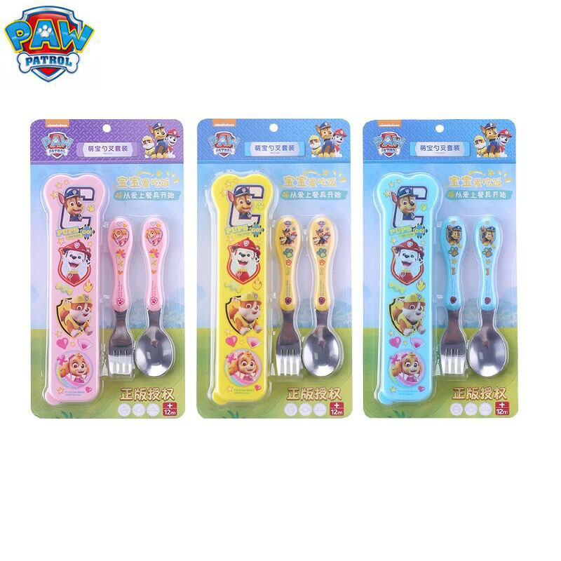 2018 Original Paw Patrol Children's Scoop And Fork Set 304 Stainless Steel Fork Spoon Set Tableware Storage Box Kids Toy Gift