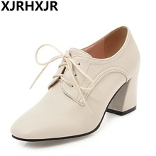 XJRHXJR New Fashion Square Toe Lace Up 7.5cm High Heels Solid Women Ankle Boots 3 Colors Available Plus Size 34-43