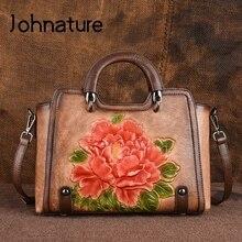 Johnature 2020 新レトロ牛革エンボス加工大容量の女性のハンドバッグ本革花カジュアルショルダー & クロスボディバッグ