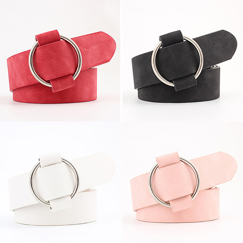female casual round buckle wide   Belts   for women dress jeans   belt   woman ladies faux Suede leather straps ceinture black pink red
