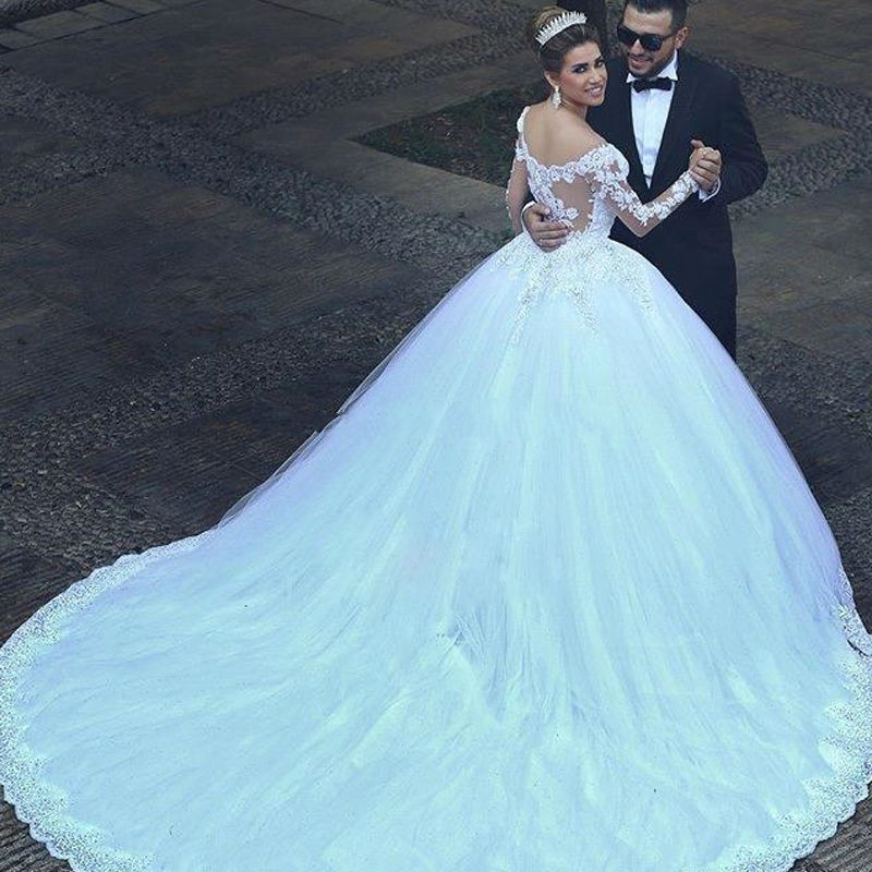Best Beading Ball Gown Long Sleeves Wedding Dresses Custom Size New ...