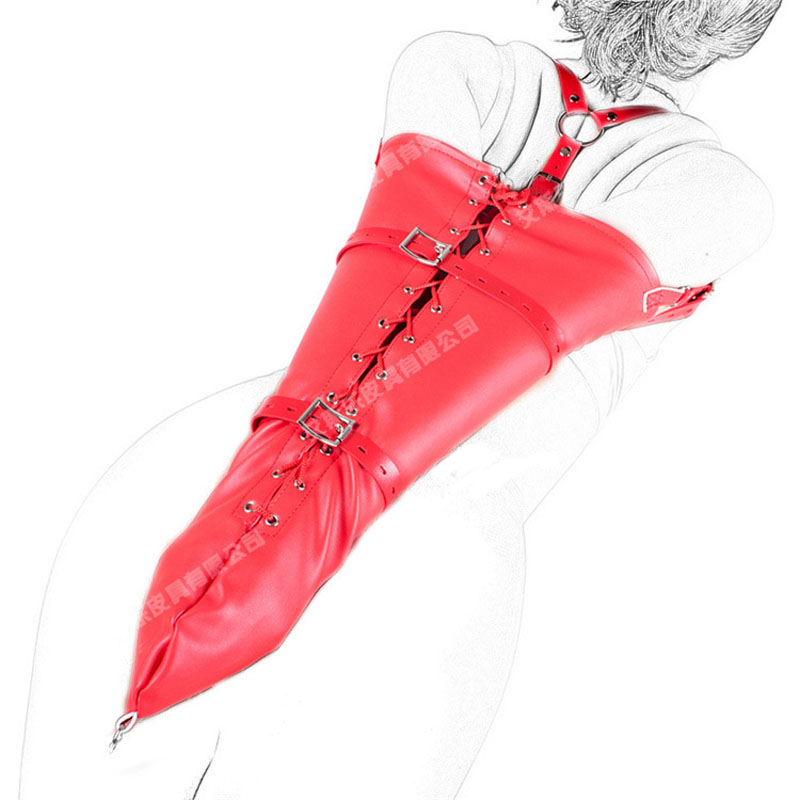 Buy Red Soft Leather Bondage Belt Hand Arm Cuffs Restraints Bags Adult Games Slave Bdsm Fetish tools Sex Toys Woman Bondage Gear