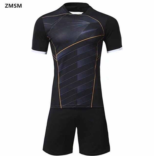ZMSM manga corta para hombre camisetas de fútbol Kit de survetement Fútbol  2017 negra cuello redondo 22d77badccb27