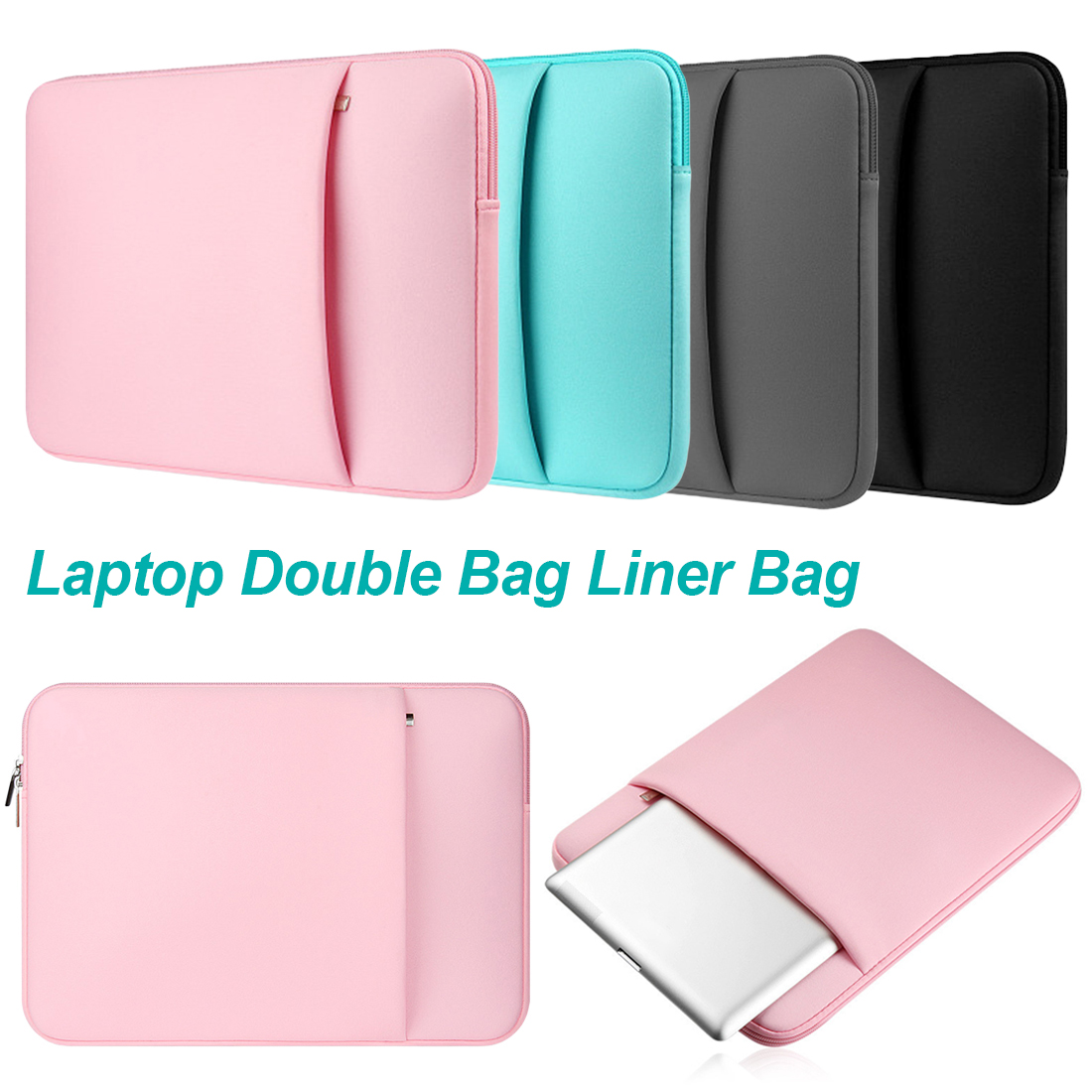 Fashion Nylon Laptop Sleeve For MacBook Air Pro 13 Pro 11 12 15 15.6 Computer Bag 14 Inch Portable Liner Sleeve Case 4 Colors