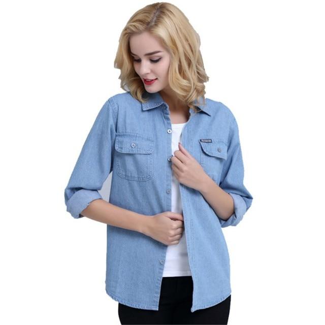 Plus Size Denim Shirt Women Thin Summer Pockets Casual Long Sleeve Jeans Blouse Button Solid Cotton Blusa Bluzki Damskie Ds50601 5