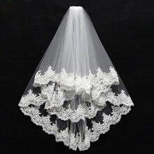 2019 Lace Appliques Two Layer Wedding Veil Cheap Bridal White Ivory Edge Veu de noiva longo In Stock