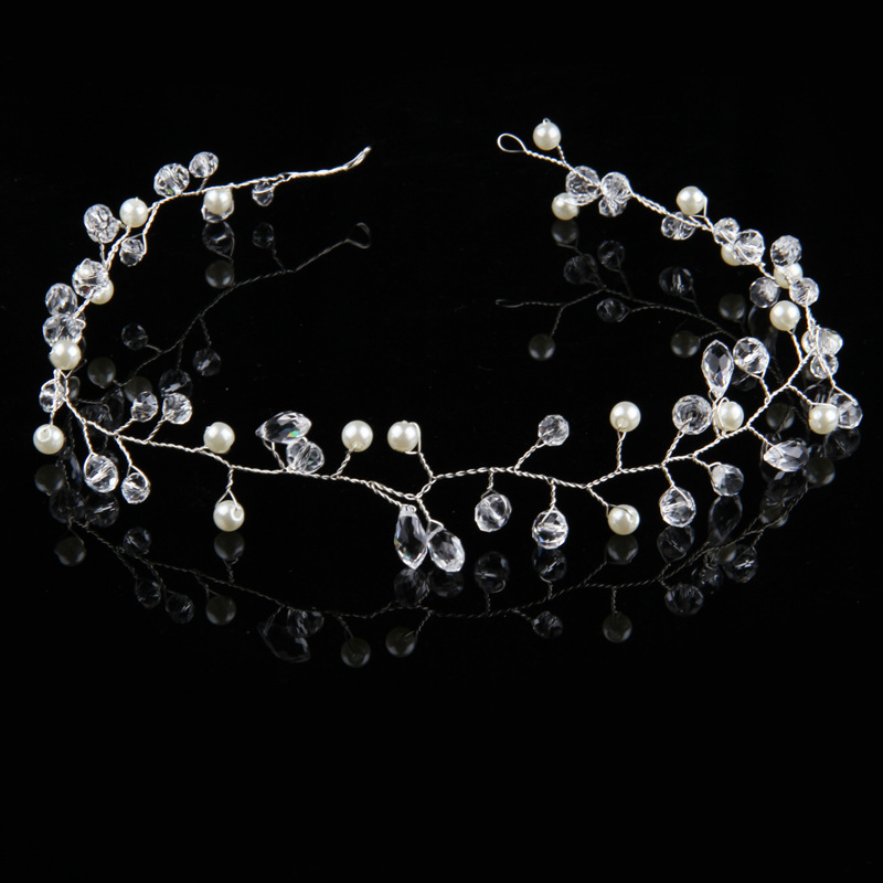 Diamante Crystal Faux Pearl Wedding Tiara Headband Crown Wreaths Elegant In Style Jewelry & Watches