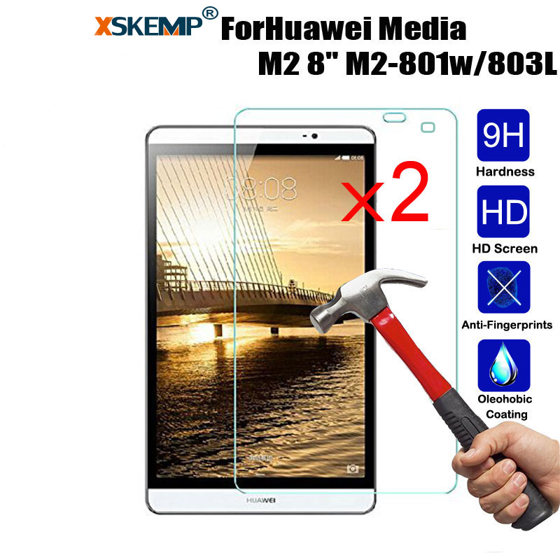 "XSKEMP 2Pcs/Lot 9H Tempered Glass Screen Protector For Huawei MediaPad M2 8.0"" M2 801w/803L Clear HD Tablet Toughened Glass Film