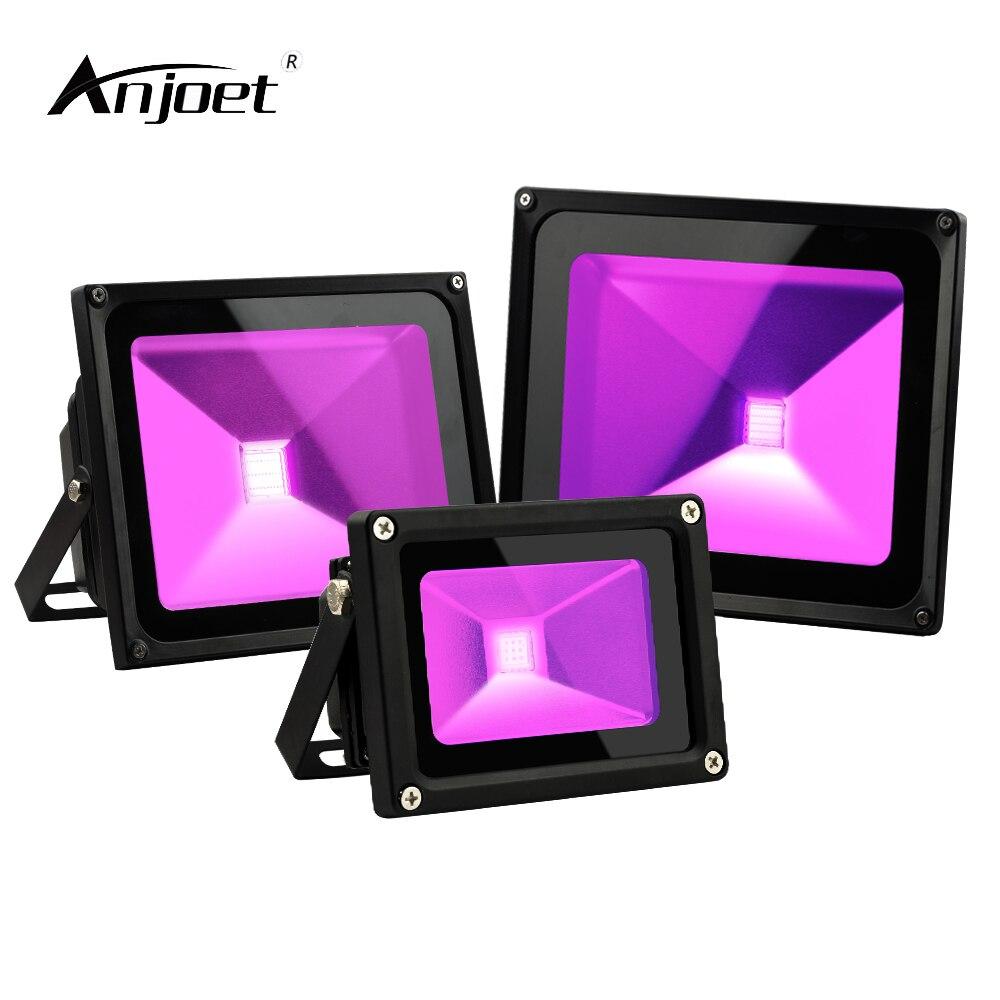 ANJOET 10W 20W 30W Ultraviolet light LED floodlight 85-265V UV Fluorescent Bulb 395nm Black Light Violet Lamps prom Lighting