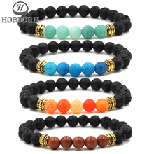 все цены на HOBBORN Classic 8mm Handmade Natural Stone Bracelet Weathered Onxy Lava Stone Healing Reiki Prayer Balance Women Men Bracelets