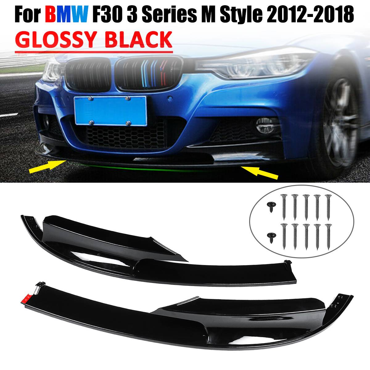 For BMW F30 3 Series 2012-18 M Style Gloss Black Front Bumper Lip Spoiler Trim*2