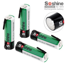 Soshine 4pcs 1.2V 2500mAh High Capacity Ni-MH Rechargeable Battery with Nickel Sheet for Screwdriver