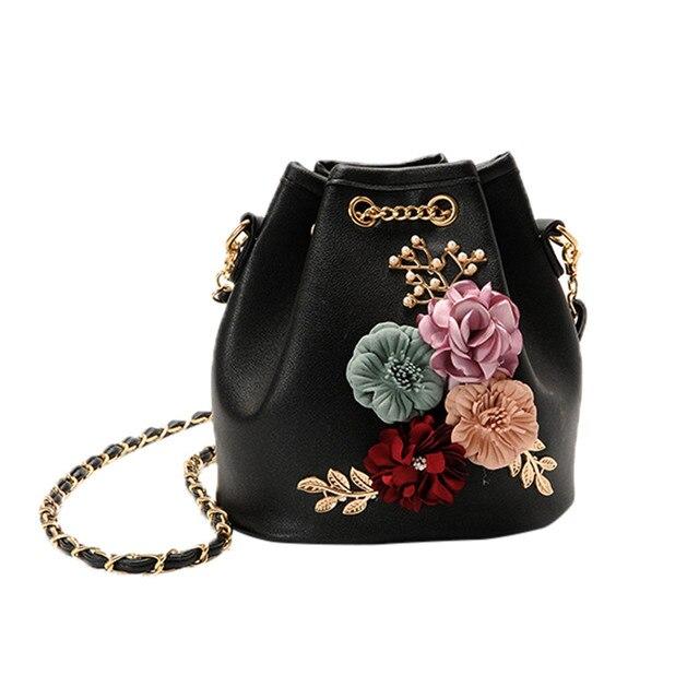 a16545e4557 Women Evening Bag Ladies Flower Wedding Clutches Female Pink Black Clutch  Purse Applique Flower Pearl Leather Messenger Bag  18