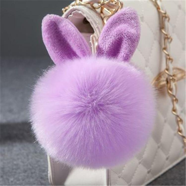 2017 Fur Pom Pom Keychain Fake Rabbit fur ball key chain porte clef pompom de fourrure pompon Bag Charms bunny keychain Keyring 44