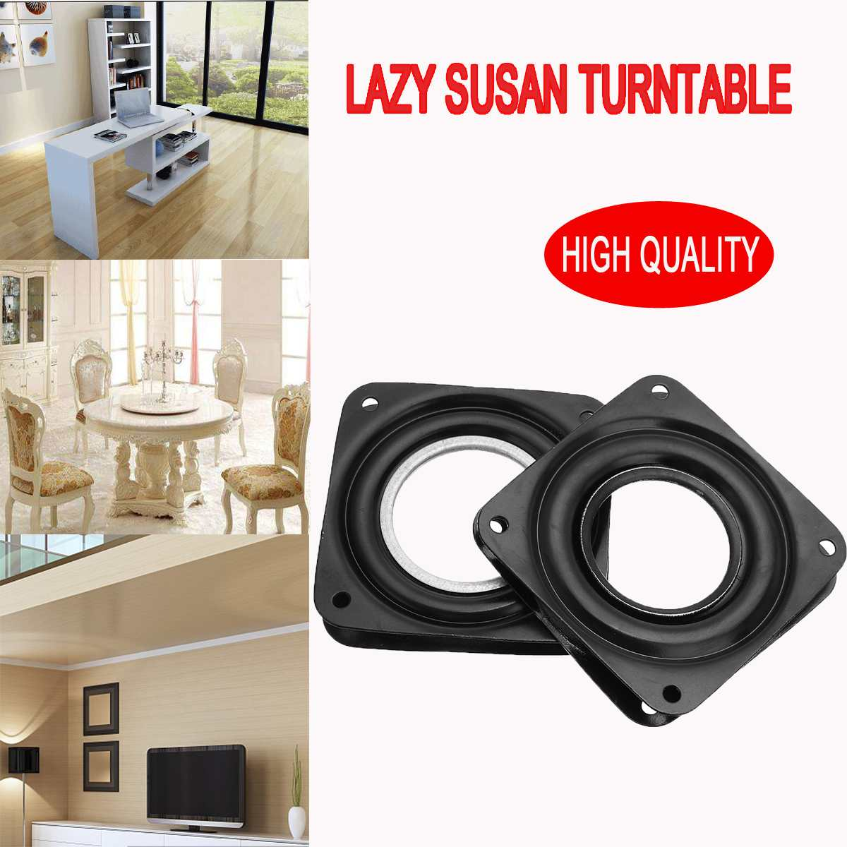 3 Inch Rotating Plate Replacement Metal Lazy Susan Bearing Turntable Tv Rack Desk Seat Bar Tool 72mm X 72mm X 8.3mm Furniture Parts