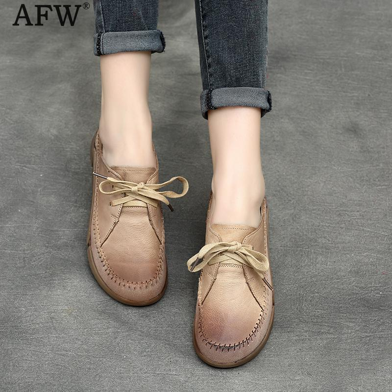 AFW Women Casual Leather Flats Low Heel Shoes Women Lace Up Retro Shoe Soft Genuine Leather Women Flat Handmade Spring Shoe 2018 тонер картридж cactus cs tk330