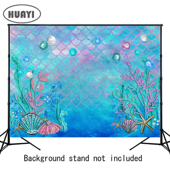 HUAYI Little Mermaid Birthday Party Photo Booth Backdrop Fishes Under the Sea Princess Baby Girl Photography Background W-597