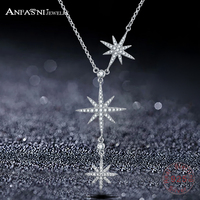 ANFASNI Top Quality Trendy 925 Sterling Silver Star Push Pull Necklace For Women Adjustable Chains For