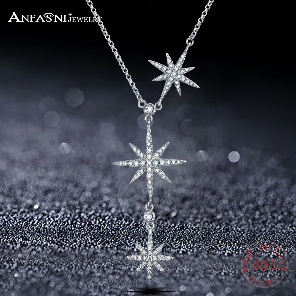 ANFASNI Top Quality Trendy 925 Sterling Silver Star Push-pull Necklace For Women Adjustable Chains For Party Gift CGSNL0006-B