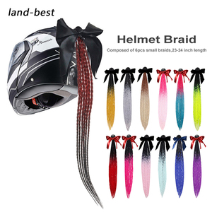 "New 24"" Punk Style Motorcycle Helmet Braids Bike Gradient Ramp Twist Sucker Removable Braid Pigtail Ponytail Motocross Racing(China)"
