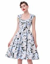 Womens dresses 2017 retro vestidos plus size short robe rockabilly casual women Audrey Hepburn floral print 50s vintage dress