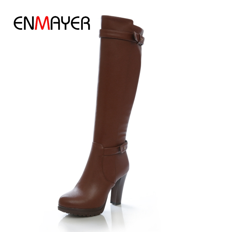 ENMAYER Women Knee high Boots Round Toe square heels Winter Shoes Black Size 34-39 Fashion boots buckle Black ZYL892 enmayer high heels charms shoes woman classic black shoes round toe platform zippers knee high boots for women motorcycle boots