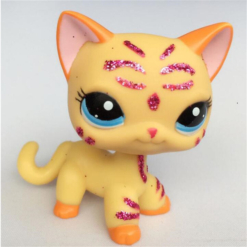 Pet Shop LPS CAT Short Hair Yellow Kitten With Blue Eyes Purple Glitter Sparkle Pet Shop Doll #15 Action Figure Anime Kids Toys