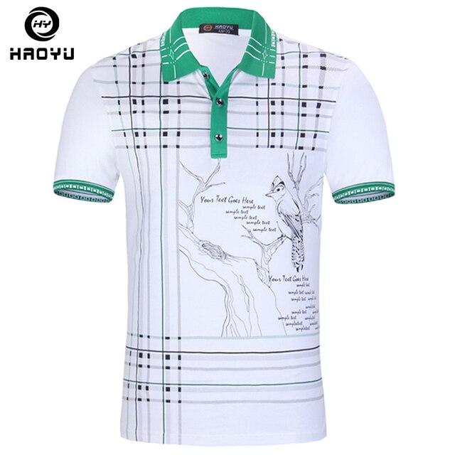Los hombres Camisa de Polo de la Marca de Ropa de la Pintura de Tinta China de Alta Calidad Del algodón del Polo de Cuello A Cuadros de Manga Corta 2016 Nueva Llegada