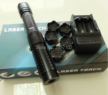 high powered 450nm 100w 100000mw focusable blue laser pointers burning match/dry wood/candle/black/burn cigarettes+5 caps+box