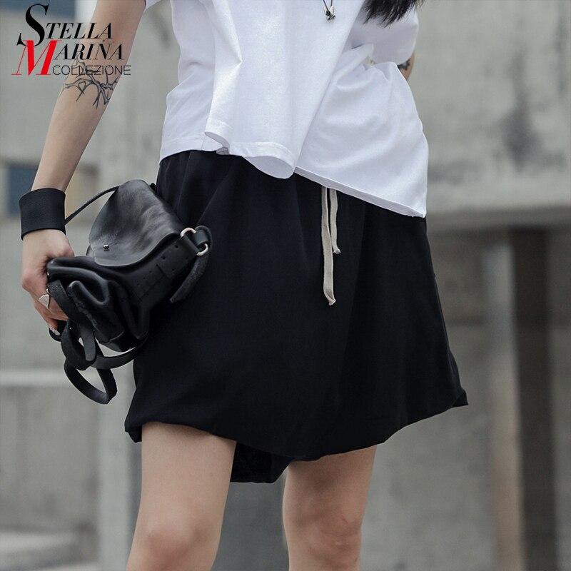 New 2019 Korean Style Women Summer Solid Black   Shorts   Elastic Waist Pockets Wide Legs Female Casual Streetwear   Shorts   Femme J050