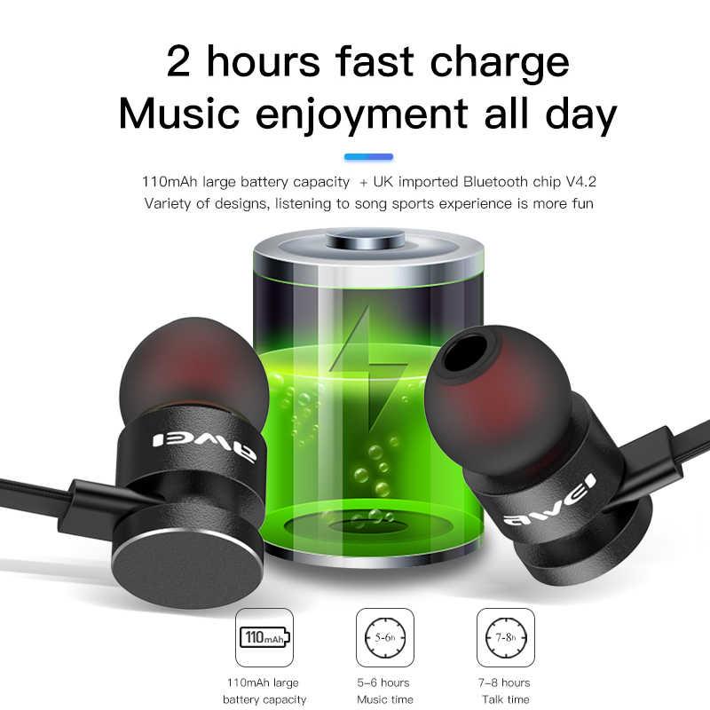 AWEI T11S Bluetooth наушники Беспроводная гарнитура с микрофоном шейным 3D бас стерео спортивные наушники для телефона fone de ouvido