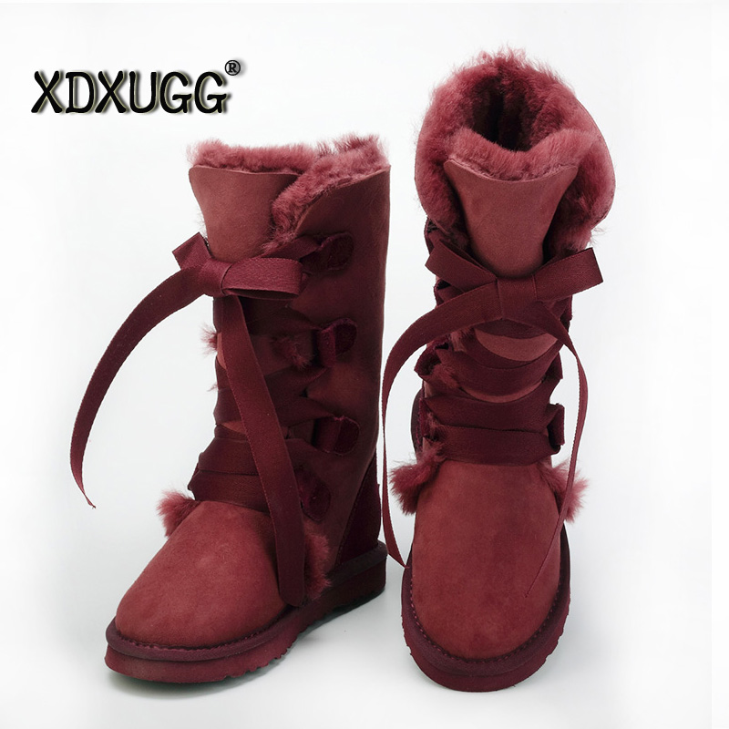 Top Quality assurance! Sheep fur Woll Women's snow boots  female Warm winter Flat Bandage Knee height Boots, Free shipping