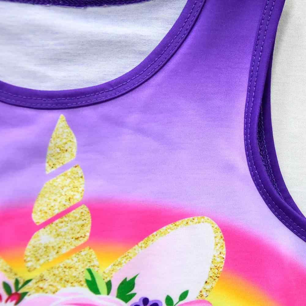 בנות קיץ שמלת Unicorn נסיכת תינוקת קריקטורה בגדי ילדים קטנים קשת כבוי כתף שמלות פעוט נער תלבושות