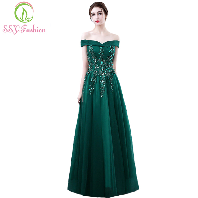 SSYFashion New The Bride Banquet Elegant Evening Dress Dark Green Lace  Appliques Floor-length Party Formal Gown Robe De Soiree 4ed8d4cfce3a