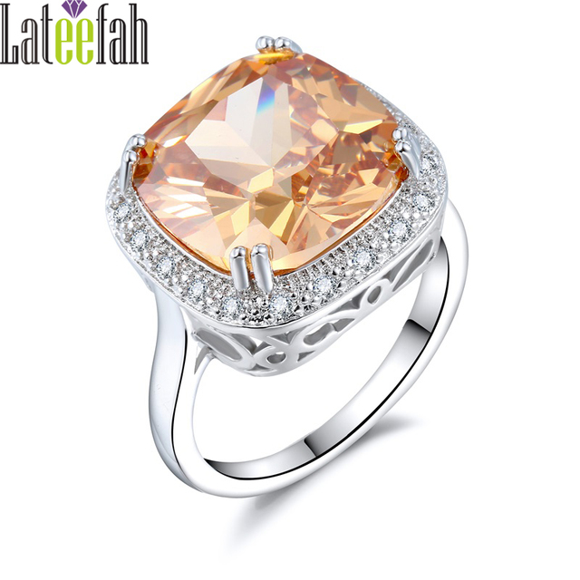 Lateefah Luxury Big Stone Wedding Rings for Women Champagne Crystal Cubic Zircon