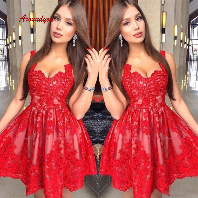 Sexy Red Lace Short Cocktail Dresses Plus Size Mini Semi Formal Graduation Prom Party Homecoming Dresses