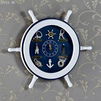 Mediterranean helmsman clock, mute, Mediterranean style wall clock, creative home hang adorn, new home gift