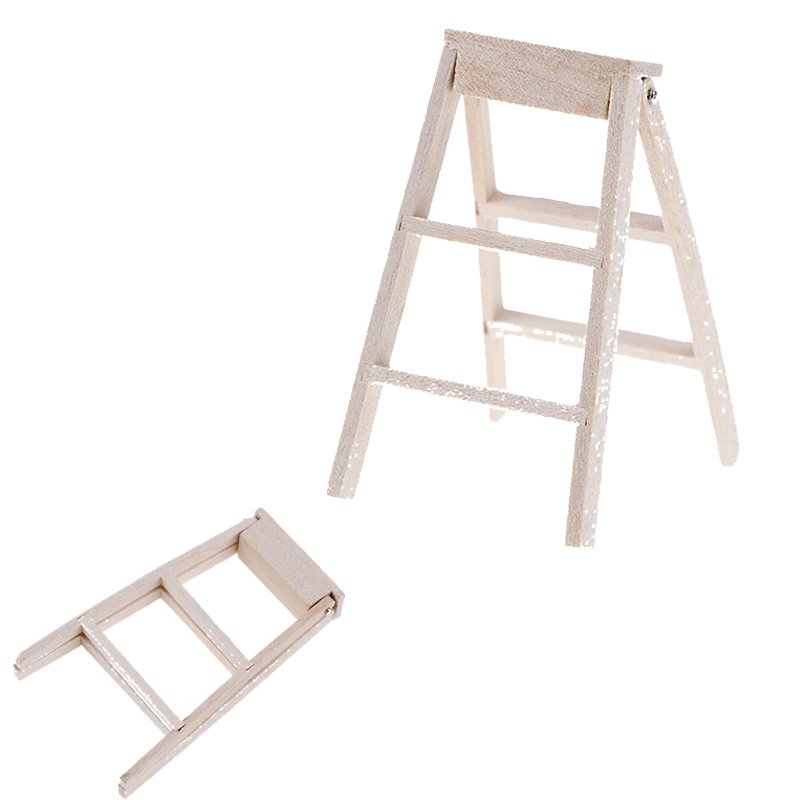 1:12 Folding Ladders Dollhouse Miniature Furniture Wooden Ladder For Gifts With High Quality